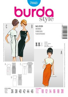 Burda 7043  for a lightweight wool.  Love the inverted v in bodice
