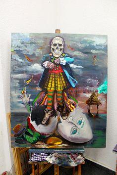 """Original and unique oil painting, """"Hatched"""", figurative art, contemporary art, Berlin art, surrealism, portrait,"""