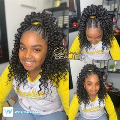 Image may contain: one or more people Kids Crochet Hairstyles, Lil Girl Hairstyles, Black Kids Hairstyles, Braided Ponytail Hairstyles, African Braids Hairstyles, Crochet Hair Styles, Crochet Hair For Kids, Toddler Hairstyles, Ponytail Styles