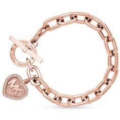 Michael Kors Heart Toggle Bracelet In Rose Gold/clear/blush Acetate Bracelet Rose Gold, Rose Gold Charms, Rose Gold Jewelry, Heart Jewelry, Jewelry Bracelets, Bangles, Jewelry Logo, Gold Jewellery, Michael Kors Armband