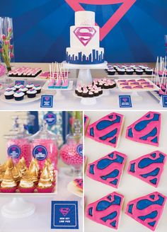 In this Supergirl birthday party, a pink + blue color palette is on the tablescape + dessert table with pink Kryptonite cupcakes + a Superhero bounce house