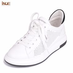 INOE 2017 new fashion style genuine cow leather women casual spring summer shoes leisure lace up girls loafers flats white black #jewelry, #women, #men, #hats, #watches, #belts, #fashion