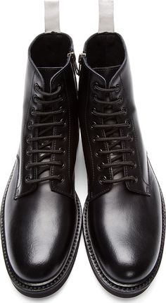 Common Projects - Black Leather Lace-Up Officer's Boots | SSENSE