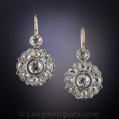 Antique Style Diamond Cluster Earrings - 20-1-5204 - Lang Antiques
