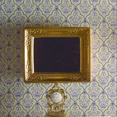 Rectangular 'Gold' mirror with splendid embossed frame 65 x 54 x 7mm, dollhouse style, 1:12 scale