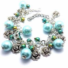 Blue and Green Roses Charm Bracelet by JewelArtology on Etsy