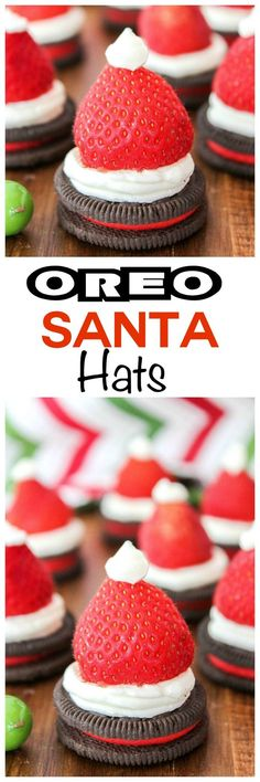 Santa Hats Looking for treats for santa? These oreo santa hats are easy and fun for the kids to make this holiday season!Looking for treats for santa? These oreo santa hats are easy and fun for the kids to make this holiday season! Christmas Deserts, Holiday Snacks, Christmas Appetizers, Noel Christmas, Christmas Candy, Holiday Recipes, Christmas Ideas, Recipes Dinner, Christmas Recipes