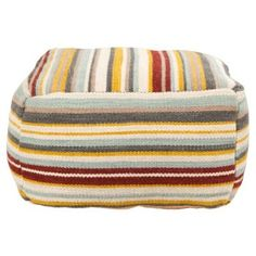 Check out this item at One Kings Lane! Eve Pouf, Slate/Yellow/Multi I love giant poofs