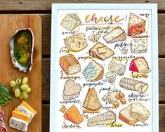 cheese print. illustration. Kitchen decor. Food art. by LouPaper