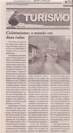 Cicloturismo: o mundo em duas rodas – Publicado em 17 de agosto de 2006