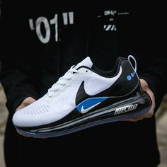 Nike Air Max 720 White Black Royal Blue Gold Men's Athletic Sneakers Air Max Sneakers, Moda Sneakers, Sneakers Mode, Sneakers Fashion, Fashion Outfits, Nike Casual Shoes, Cute Nike Shoes, Nike Air Shoes, Nike Socks