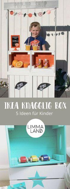 Die IKEA KNAGGLIG Box sieht fast aus wie eine Weinkiste und eignet sich prima für einen IKEA Hack für Kinder. Wir zeigen euch in unserem Blog was ihr alles tolles aus der Holzkiste basteln könnt. Vor allen die Ideen für das Kinderzimmer sind total niedlich! www.limmaland.com