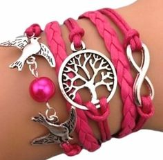 Bracelet Infini Arbre de Vie Colombe et Perle / Infinity /One Direction / Karma – Rose / Argent | Your #1 Source for Jewelry and Accessories