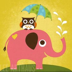 Tangletown Fine Art 'Elephant and Owl with Umbrella' by Nancy Lee Graphic Art on Wrapped Canvas Owl Canvas, Elephant Canvas, Elephant Nursery, Pink Elephant, Canvas Art, Canvas Size, Framed Art Prints, Poster Prints, Wall Posters