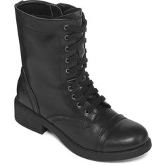 Arizona Judson Lace-Up Combat Boots (£44) ❤ liked on Polyvore featuring shoes, boots, ankle booties, lacing combat boots, military combat boots, short heel booties, lace up boots and low heel boots