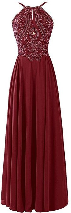Charming Chiffon Prom Dress, Long Halter Bridesmaid Gown ,Long Backless Prom Dress