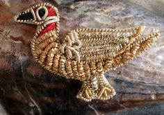 Vintage Bird Appliques (2), Gold Bullion and Silver Bullion Ducks with Embroidery, Coilwork, Made in India, Accent, Adornment, Set of 2 by TwoSistersSupplies on Etsy
