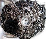 Vintage Silver Watch black rhinestones gothic Jewelry mens watch womens watch. €160,00, via Etsy.