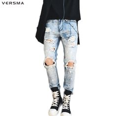 >> Click to Buy << VERSMA High Street Side Zipper Design Blue Justin Bieber Jeans Pants Men Denim Distressed Ripped Skinny Jeans for Teenagers Boys #Affiliate