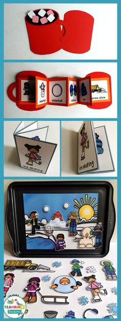 Winter Vocabulary Activities - Use this resource with your preschool, Kindergarten, or 1st grade classroom or home school students. It's great for your vocabulary or speech therapy lessons. You get a craftivity, foldable, mini books, write the room worksheet, counting syllables, and an interactive vocabulary scene. Great to use in December or January for all your snowy lesson plans. {preK, K, first graders, fun, literacy or ELA centers & stations} via @teachingtalkingSLP