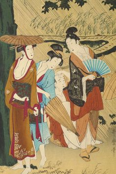 "Japanese Ukiyoe Woodblock print antique Utamaro  ""Rain Shower(right)"""