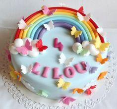 Duhový dort s motýlky / Rainbow and butterfly cake