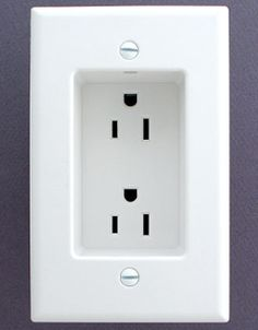 Recessed outlets so your humongo plugs don't force your furniture away from the wall. So smart! (via @Amye ToTheRescue!)