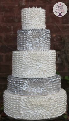 White & Silver Dahlia Wedding Cake by Sweet Element Cakes (Featured in Brides Style Pop-Up Shop)