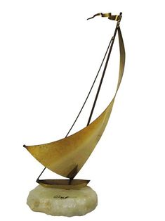 Brass and Marble Sail Boat Figurine - available for rent at Lost and Found. Wooden Sailboat, Sailboat Art, Sailboats, Prop House, Game Environment, Copper Art, Prop Styling, Mid Century Furniture, Lost & Found
