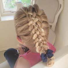 A Five Strand Dutch Braid on my wriggling curly haired 2 year old  if you practice on this age group, I recon you can do hair on ANYONE!! #sweetheartshairdesign #toddlerhair #cutehairstyles #trenza #peinado #kidshair #kidsbraids