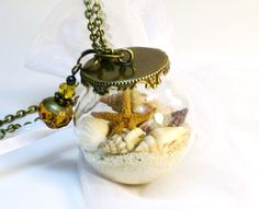 Glass Beach Globe Sea Shells OOAK Bottle Necklace Mini Starfish World in a Jar on Etsy, Sold