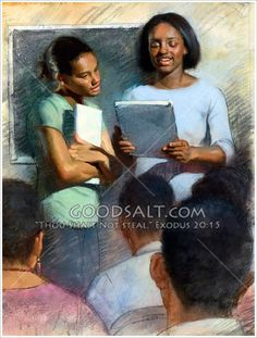 A black woman teaches a lesson to black students. The virtuous woman teaches others. She earns respect. Supports others.