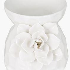Redolence Steffy Floral Design Oil Burner   White   Ceramic Blush And Grey Living Room, Oil Burners, White Ceramics, Floral Design, Candle Holders, Fragrance, Decor, Floral Patterns, Decorating