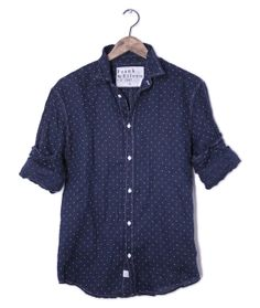 Italian linen navy dot shirt
