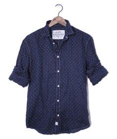 Italian linen navy dot shirt