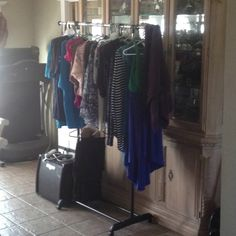15 dollar rolling clothe rack from Walmart. My laundries new best friend!