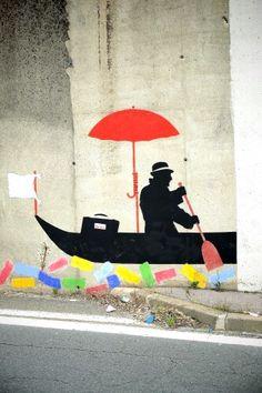 Street Art Umbrella... Nemo - street art - Montreuil, carrefour du 8 mai 1945