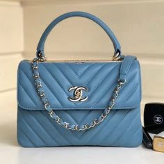 30ce6d034528 Chanel Chevron Small Trendy CC Flap Bag With Top Handle A92236 Blue  2018(Gold-
