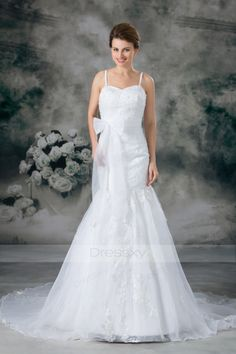 Top Trumpet / Mermaid Beading,Bowknot,Embroidery Wedding Dresses