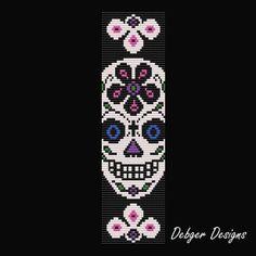 Sugar Skull 4 Loom Bracelet Cuff Pattern by LoomTomb on Etsy Bead Loom Bracelets, Beaded Bracelet Patterns, Jewelry Patterns, Beaded Jewelry, Jewelry Ideas, Bead Crochet Patterns, Beading Patterns Free, Weaving Patterns, Art Patterns