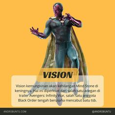 Vision kemungkinan akan kehilangan Mind Stone di keningnya pada film Avengers: Infinity War. Sumber: Androbuntu.com