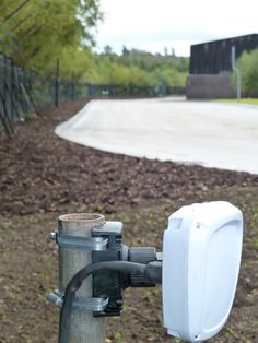 Microwave sensor on the perimeter of a storage yard as part of an intruder detection system. Read more about microwave sensors https//www.aps-perimeter-security.com/microwave-barriers-product/