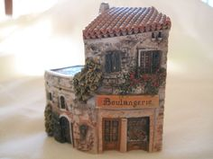 Vintage DOMINIQUE GAULT miniature clay building, Boulangerie, France,signed
