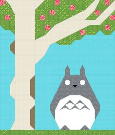 Totoro Baby Quilt Design - the eyes would be embroidered, they're left blank in the piecing design.