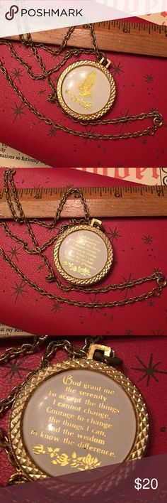 """Vintage Serenity Prayer Necklace Vintage gold tone necklace with a round pendent Hands in prayer on one side & serenity prayer on the other.  The metal on this piece is gold tone & does show signs of wear.  Pendent approx 1.5"""" across & chain is approx 24"""" long. Vintage Jewelry Necklaces"""