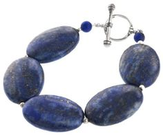 "Sterling Silver and Lapis Large Oval Bead Bracelet, 8"" Amazon Curated Collection. $39.00. Made in China. Save 57% Off!"