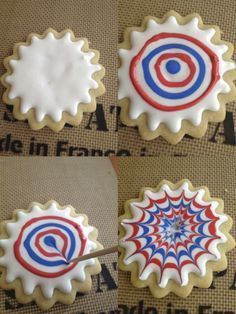 I saw these on the cover of Martha Stewart Living last July and vowed to make them, but as usual time ran away too quickly and the came and went before I could make them. I've been keepi… (holiday foods of july) 4th Of July Desserts, Fourth Of July Food, 4th Of July Party, July 4th, Patriotic Desserts, 4th Of July Cake, Galletas Cookies, Iced Cookies, Royal Icing Cookies
