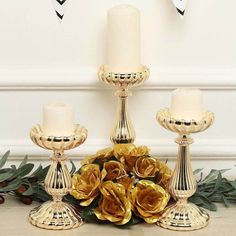 Mercury Glass Candle Holders, Gold Candle Holders, Candle Stand, Votive Candles, Gold Table Runners, Faux Flower Arrangements, Gold Wedding Decorations, Flower Ball