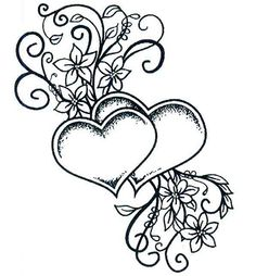 Stempel - Two Hearts Entwined - serca Na-Strychu Love Coloring Pages, Coloring Books, Bild Tattoos, Body Art Tattoos, Tattoo Oma, Free Adult Coloring, Wood Burning Patterns, Printable Coloring, Colorful Pictures