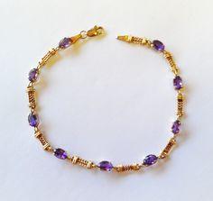 Vintage Amethyst and Gold Bracelet. $177.00, via Etsy.